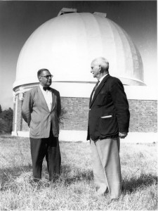 Directors of The Lamont-Hussey Observatory. Rossiter (right) 1928 - 52 and Holden (left) 1962 - 71. (Source: A.S.S.A. Symposium 2002: Paper 05 Penning: The Lamont-Hussey Observatory 1927- 1974)