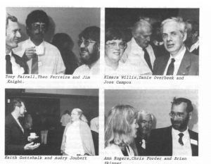 1st ASSA Symposium: Tony Fairall, Theo Ferreira, Jim Knight; Elmara Willis, Danie Overbeek, Jose Campos; Keith Gottshalk, Audry Joubert; Ann Rogers, Chris Forder, Brian Skinner (Source: MNASSA 1992, Vol.51, No.5, p.38.) (Auke 1992-51-5-38)