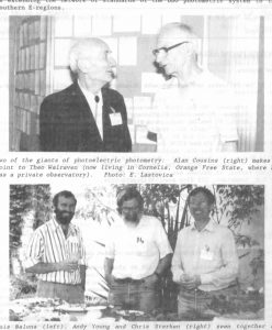 Theo Walraven, Alan Cousins; Luis Balona, Andy Young, Chris Sterken (Source: MNASSA 1993, Vol.52, No.3, p.10.) (Auke 1993-52-3-10)
